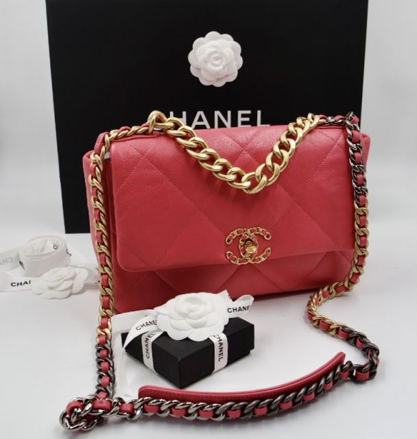 CHANEL 19CLASSIC BAG PINKMETAL IN GOLD SILBER FARBE