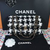 CHANEL KLASSISCHE TASCHE TWEED GOLDENES METALL