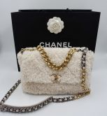 CHANEL 19 FLAP BAG SHEARLING SHEEPSKIN BEIGE