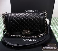 CHANEL LE BOY TASCHE 25 GENARBTES LEDER BLACK RUTHENIUM FINISH