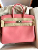 HERMÉS BIRKIN BAG 25 ROSE ÉTE SWIFT PALLADIUM HARDWARE