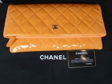 CHANEL CLUTCH FLAP IN ORANGE SILBER HARDWARE