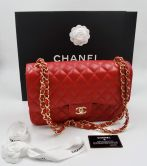 CHANEL CLASSIC FLAP BAG IN ROT KAVIAR LEDER  MIT GOLD HARDWARE