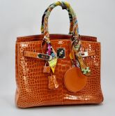 HERMÉS BIRKIN BAG 30 ORANGE NICOTICUS CROCODILE SHINY PALLADIUM HARDWARE