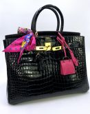 HERMÉS BIRKIN BAG 35 BLACK POROSUS SHINY GOLD HARDWARE
