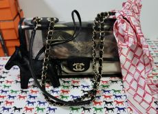 CHANEL COCO PVC FLAP WITH SAND GOLD HARDWARE
