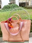 CHANEL BAG DEAUVILLE SHOPPER IN CANVAS ORANGE
