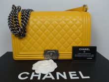 CHANEL LE BOY FLAP BAG MEDIUM 28 LAMBSKIN JAUNE RUTHENIUM