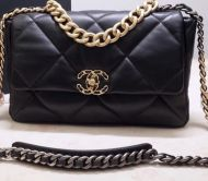 CHANEL 19 CLASSIC BAG SCHWARZ METAL IN GOLD SILBER