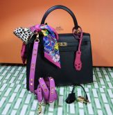 HERMÉS KELLY  BAG 25 BLACK SELLIER EPSOM GOLD HARDWARE