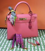 HERMÉS KELLY  BAG 28 ROSE AZALEA SELLIER EPSOM GOLD HARDWARE