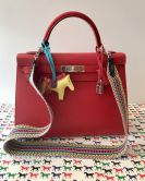 HERMÉS KELLY  BAG 32 ROUGE VIF SELLIER EPSOM PALLADIUM HARDWARE